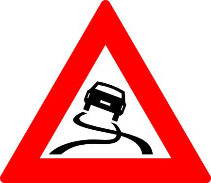 Dit bord waarschuwt voor verhoogd slipgevaar. Je kan denken aan kruispunten, bochten of bruggen.